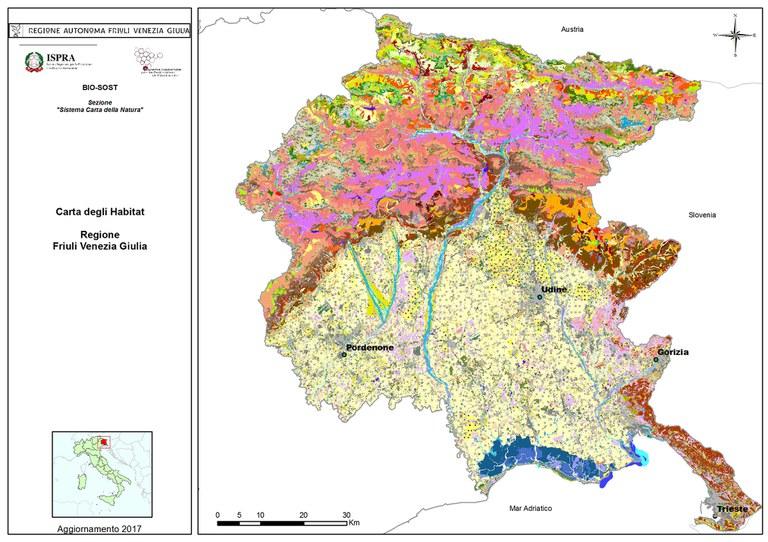 Regione Friuli Venezia Giulia Cartina.La Carta Della Natura Della Regione Friuli Venezia Giulia Aggiornamento 2017 Italiano