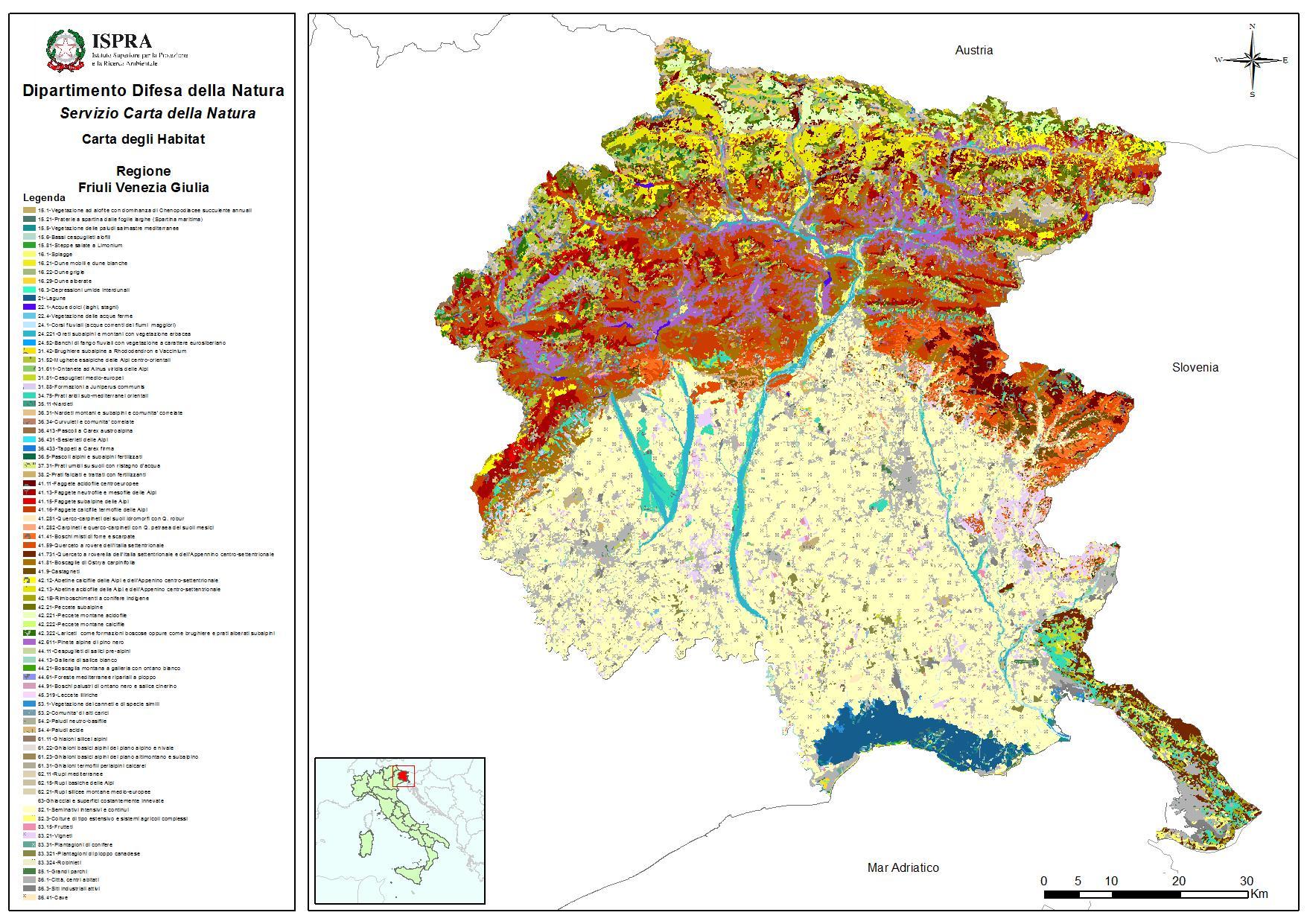 Regione Friuli Venezia Giulia Cartina.La Carta Della Natura Della Regione Friuli Venezia Giulia Italiano